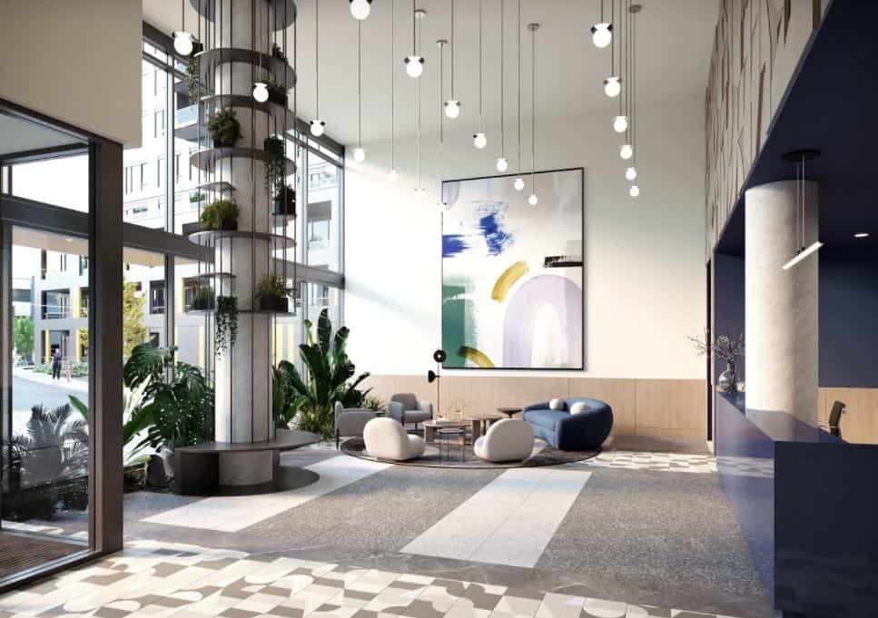 Realm Condos Amenity Area Foyer Rendering